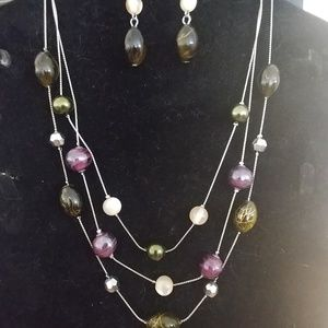 Earring /necklace set.  Purple/olive green